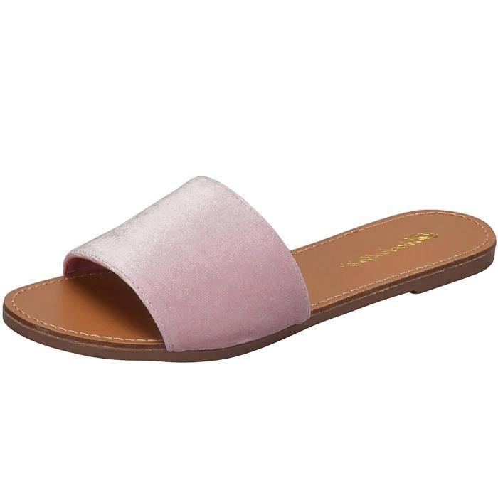 Velvet Strappy Flat Sandal Slipper Diapo D5Y4T Taille-38 1-2
