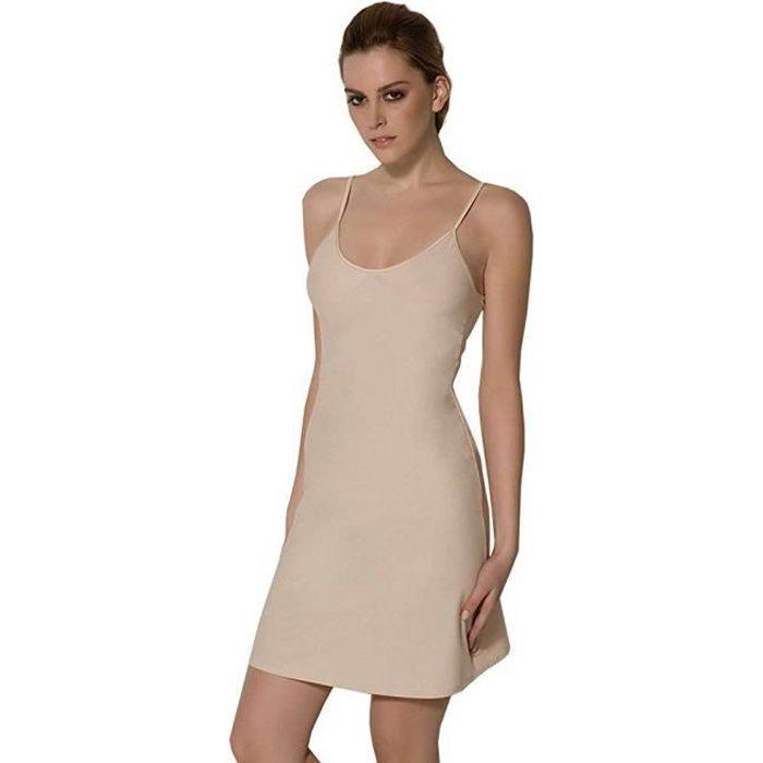 5a18c62b222 Femme Fond de Robe Classique Bretelles- Beige