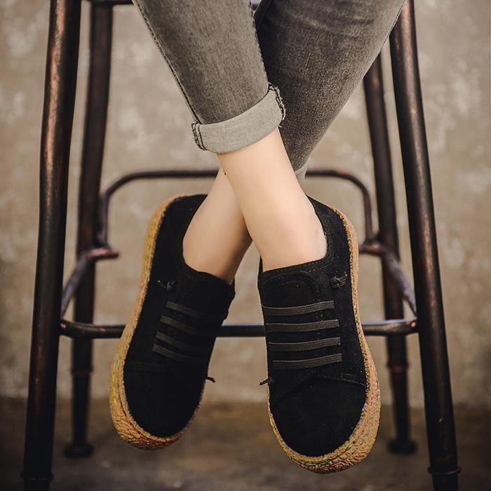 Simple Chaussures Bottes Femmes Bottines En Lacets Noir Femme Cuir Plates Sude Douces vwNmn08