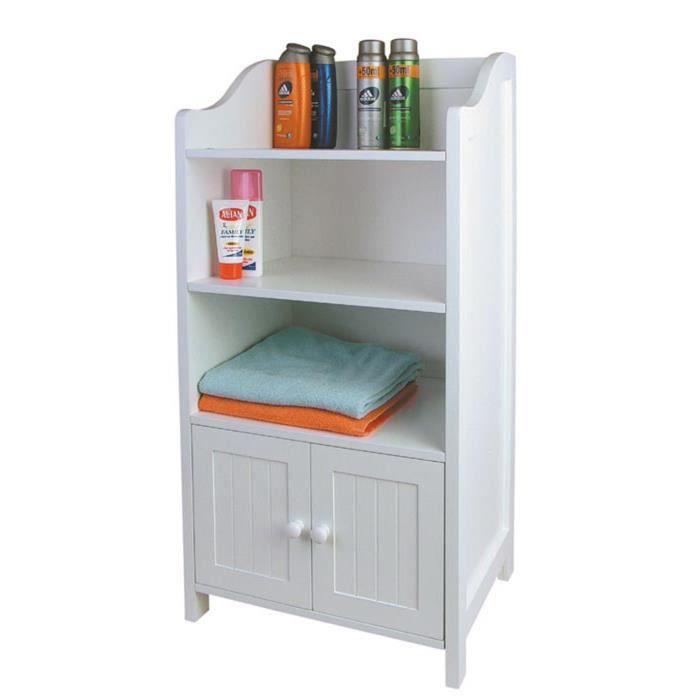 Armoire Salle de bain en bois blanc, H86 x L41 x P35,5 cm - Achat ...