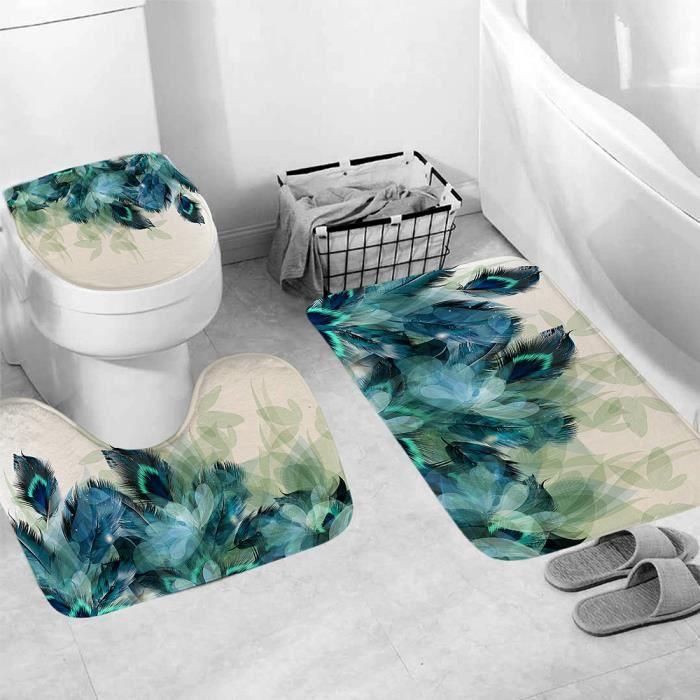 TEMPSA 3Pcs Tapis de Salle de Bain Toilette WC Absorbant Antidérapant Plume  de Paon