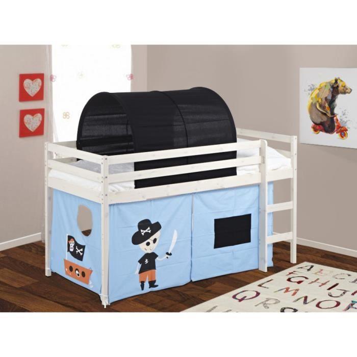 lit mi hauteur pirate avec rideaux bleus et tunnel noir. Black Bedroom Furniture Sets. Home Design Ideas