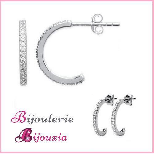 Boucles Doreilles Demi-Créoles Microserti Zirconium Argent 925 Rhodié