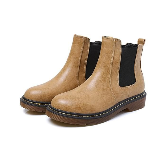 Tomwell Femmes Chaussure Mode Bottine Chelsea Boots Bout Rond Low Heel Slip on Moto Bootie eJD1lwt5