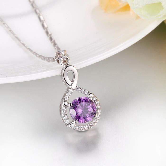 Collier infini oxyde de zirconium plaqué or blanc Couleur Violet