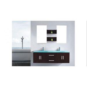 Meuble salle de bain avec vasque en verre - Achat / Vente pas cher