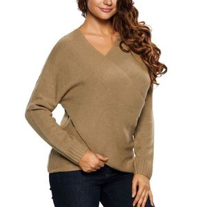 PULL Gris Pull-over Femme Tricoté Laine Sexy Col V Prof 9dd99c757a35