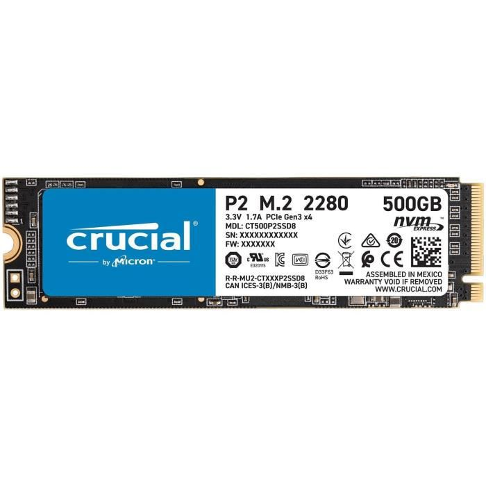 CRUCIAL® P2 SSD 500 Go 3D NAND NVMe™ PCIe® M.2 2280SS (CT500P2SSD8)