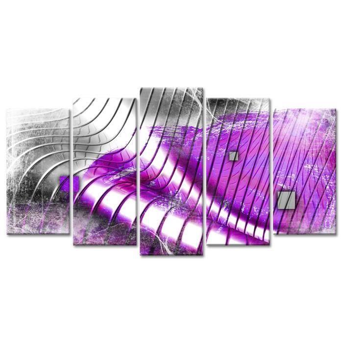Thème : Abstrait - Tableau Déco Design Vagues Abstraites - 150x80 cm - VioletTABLEAU - TOILE