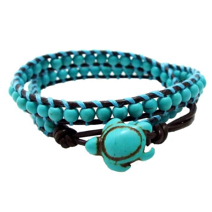 Womens Timeless Ocean Sea Turtle Simulated Turquoise Double Leather Wrap Bracelet H4UPG