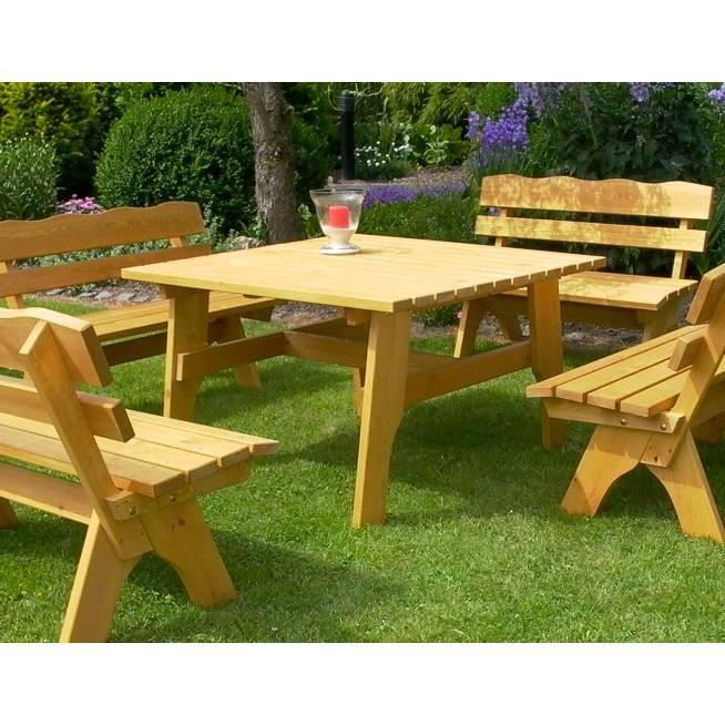 Table salon de jardin 120x120 design rustique bois pin traité ...