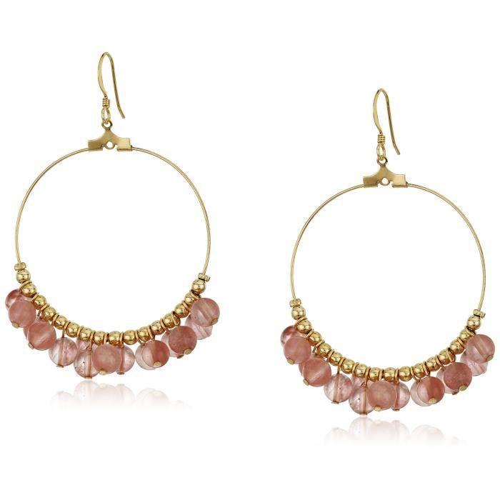 Kenneth Jay Lane Gold Hoop With Rose Quartz Beads Fishhook Hoop Earrings NSQE4