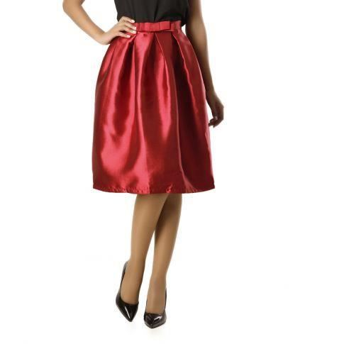 Jupe patineuse taille haute bord... Rouge - Achat   Vente jupe ... 4133c5720e7a
