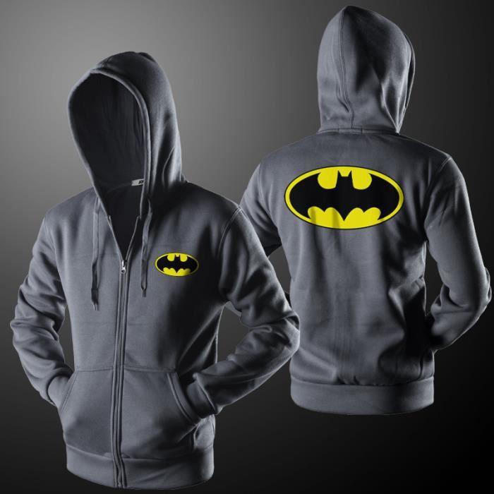 5e0c2bd788554 Sweat a capuche homme Batman imprimé fermeture éclair sweat veste homme de  marque