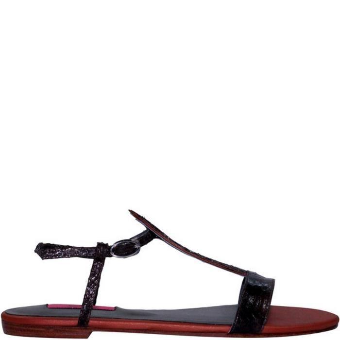 Sandale femme en cuir ARAGON Turquoise Marron