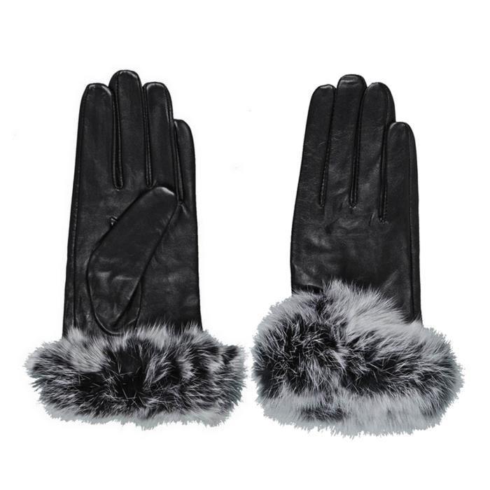 gants cuir et fourrure achat vente gants cuir et fourrure pas cher soldes d s le 10. Black Bedroom Furniture Sets. Home Design Ideas