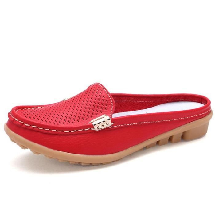 Mocassin Femmes Cuir Occasionnelles Casual Chaussure DTG-XZ045Rouge37