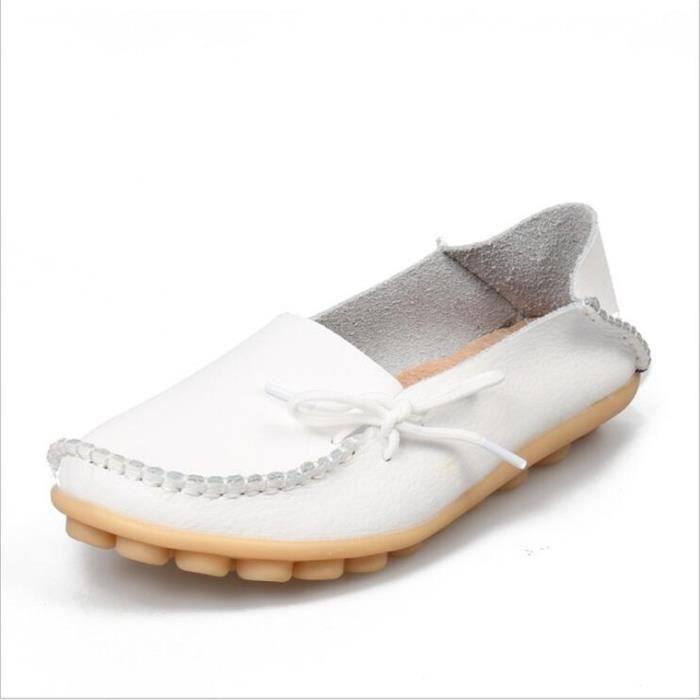 Loafer femmes Nouvelle arrivee marque de luxe chaussures plates cuir 2017 ete Respirant Plus Grande Taille 34-44 femme RHxN2RhU