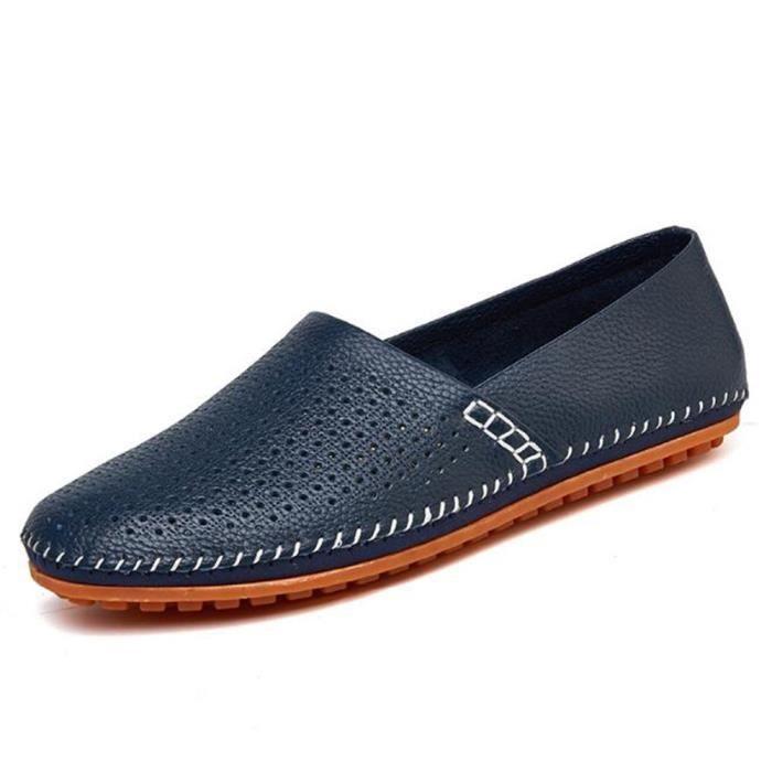 homme chaussures Respirant 2017 Luxe ete Cuir véritable à la mode Moccasin Poids Léger Antidérapant Grande Taille