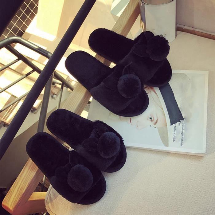Femmes Dames Slip On Sliders Fluffy Faux Fourrure Flat Slipper Flip Flop Sandale Noir