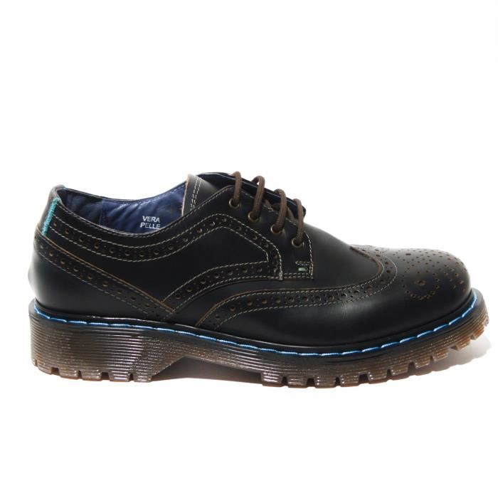 Scilly island scarpa Richelieu cuir con cuciture celeste t.moro T. 40 kAjCxd8H