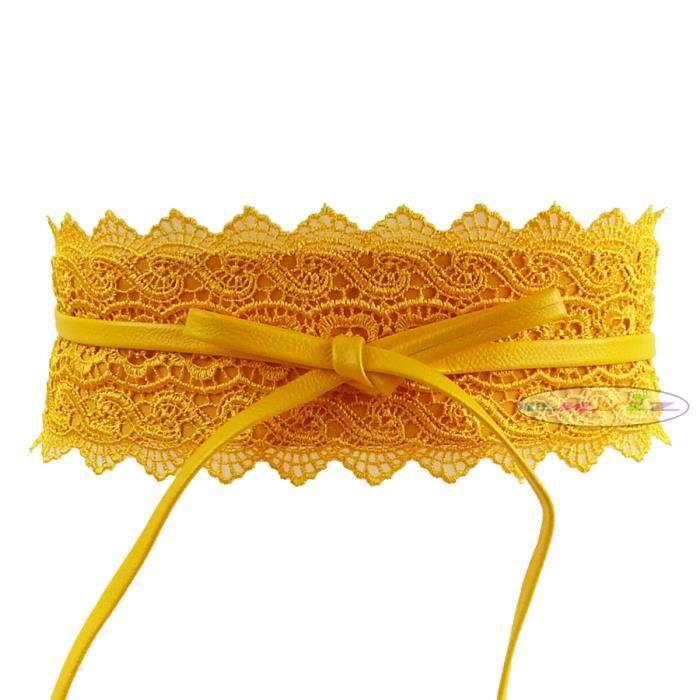 5897cee35a8 Ceinture corset dentelle large à nouer pour femme -Jaune Jaune ...
