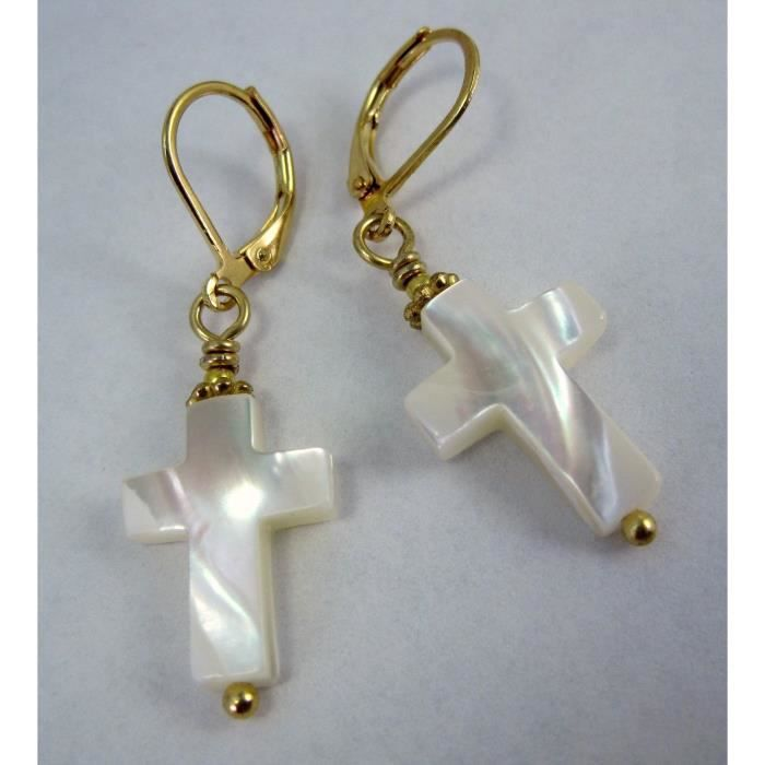 Womens Small Sunday Natural Mother Of Pearl Christian Cross And Goldtone Dangle Earrings By V3CUF