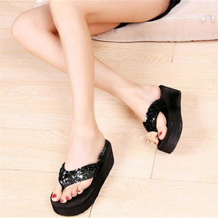 Tongs femme Chaussures tongs de luxe été plage massant nouvelle marque de chaussure femme haut talon agréable 5IEbSRb