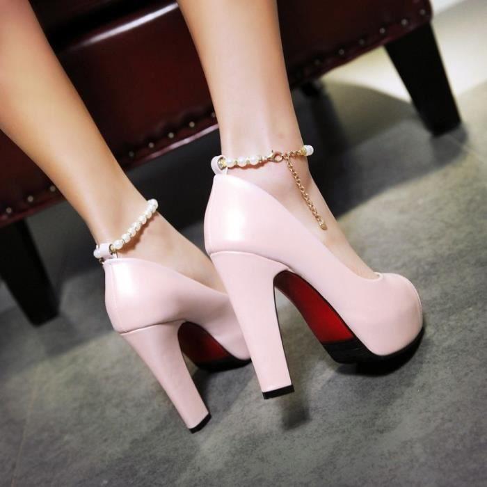 Sandales rose Ouvrez toe à talons hauts de plate-forme épais
