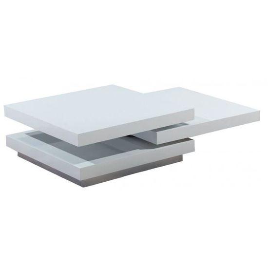 Basse Laqué Avec Blanc En 3 Carrée Pivotants Coloris Mdf Plateaux Table htodQxBsrC