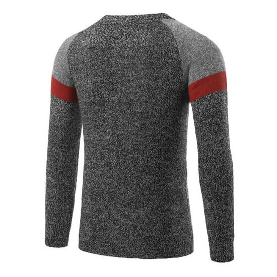 Raglan Col Masculin Luxe Colorblock Slim Blanc Rond Hommes Manches Vêtement Pull Homme Marque 6Fqw0