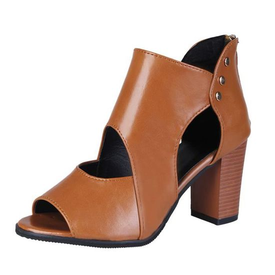 Femmes Shallow Square Boucle Slip On Chaussures à talons bas Toe Square Chaussures simples@Beige   HEXQ q585 Marron Marron - Achat / Vente slip-on
