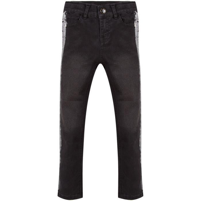3 POMMES Pantalon Jean Gris Foncé Enfant Fille