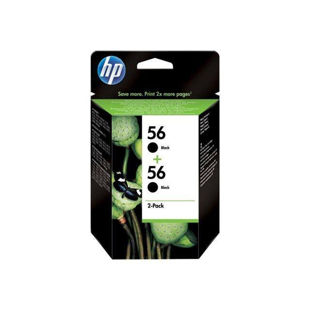 HP Pack de 2 Cartouches d'encre 56 - Noir - 2 x 19 ml - 2 x 520 pages - Blister