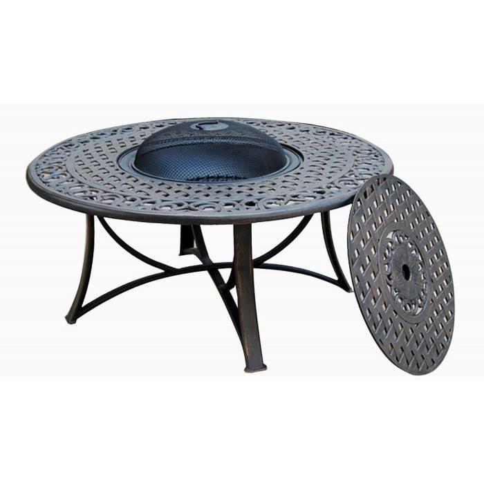 Table de jardin basse ronde MOOREA aspect fer forgé (noir) - Achat ...
