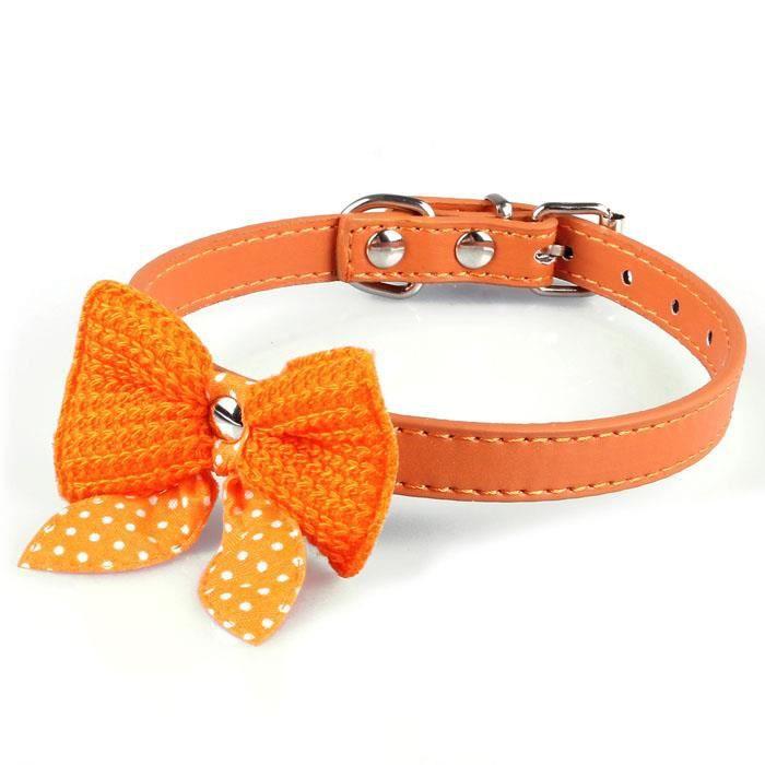 Knit Bowknot Cuir Réglable Pu Chien Puppy Pet Colliers Collier Ou@huaido005