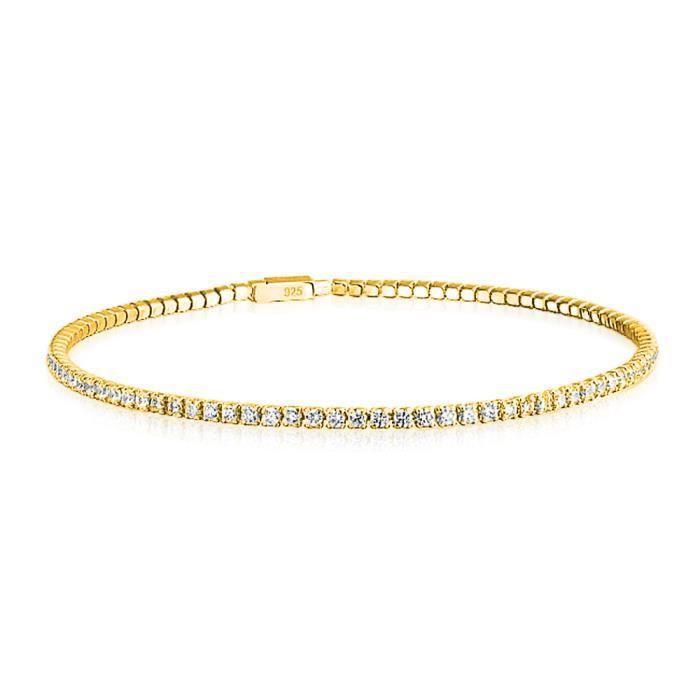 Bling Jewelry Bracelet de Tennis Fin en Argent Massif Plaqué Or Serti de Zircones Blanches