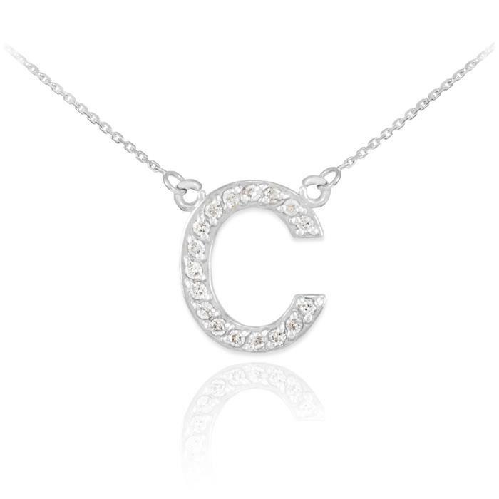 Pendentif 14 ct Or Blanc 585/1000 première lettre deinitiale C Diamants