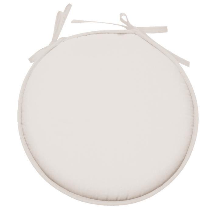 Galette De Chaise Ronde En Polyester Blanc Casse Achat Vente