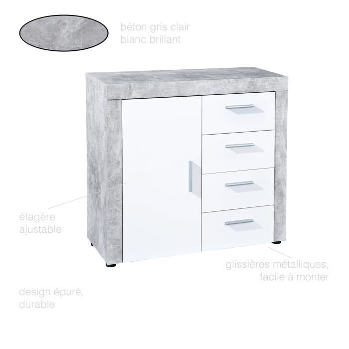 Commode Moderne 1 Porte 4 Tiroirs Commode Chambre Commode