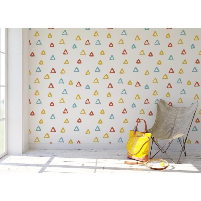 Papier Peint Enfant Finition Satine Pre Encolle Motif Geometrique