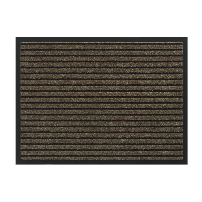 Tapis d´entrée TIMELESS - Marron brun rayé noir - 60x80cm - Support ...