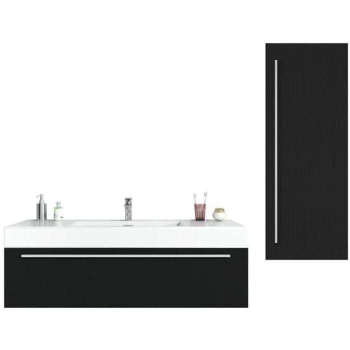 Meuble de salle de bain Garcia 120 cm Bois noir - Élément bas Élément haut  Élément lavabo Lavabo