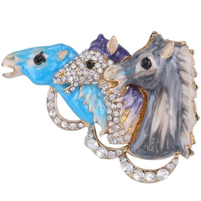 Ever Faith - Cristal Autrichien Email 3 Tête Cheval Broche -Bleu Parme Gris-Plaqué Or N02823-6