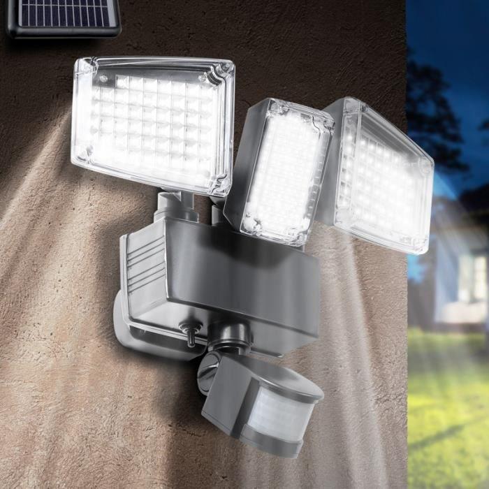PROJECTEUR EXTÉRIEUR Projecteur solaire 3 têtes 178 led détecteur de mo