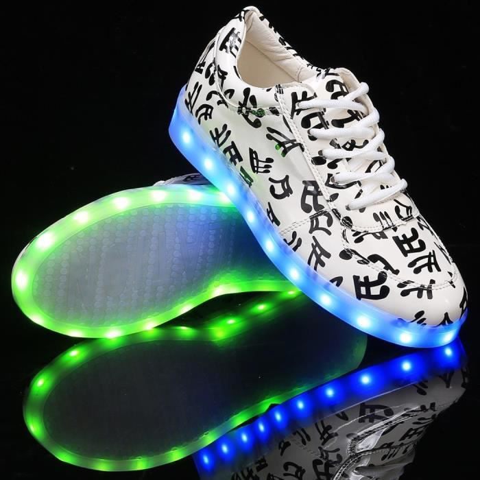 Sneakers LED Light Up impressions Round Toe en cuir synthétique