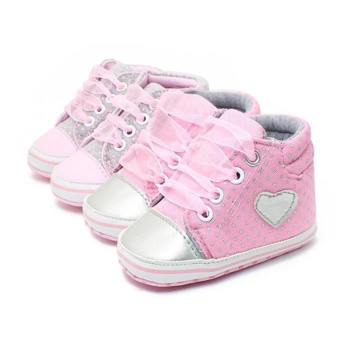 Classique Chaussures bébé Casual tout-petits nouveau-nés Pois Bébés filles d'automne à lacets First Walkers sneakers,rose,13