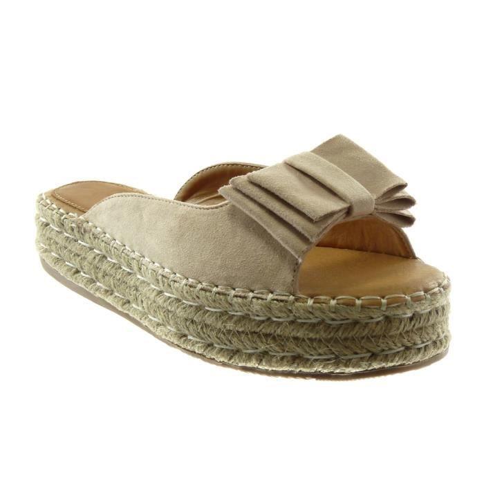 Angkorly - Chaussure Mode Sandale slip-on plateforme femme noeud corde tréssé Talon compensé plateforme 4 CM - Beige - 303-58 T 35