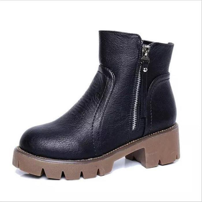 BBZH talon bottes Femmes XZ019Noir38 Hiver en Automne cuir épais Bottines qgwP8C