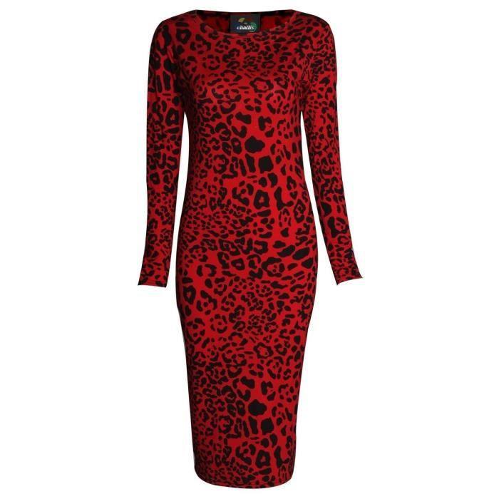 léopard serpent imprimé à manches longues aztèque crâne & rose imprimé bodycon midi robe moulante uk 8 2J330B Taille-42